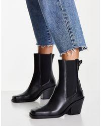 & Other Stories Черные Кожаные Ботинки В Стиле Вестерн С Квадратным Носком -черный Цвет