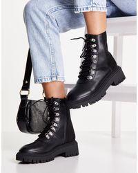 London Rebel Черные Походные Ботинки На Толстой Подошве -черный Цвет