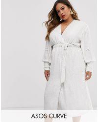 ASOS Curve Sequin Wrap Midi Dress - White