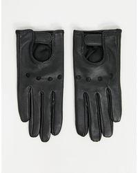 ASOS - Черные Кожаные Перчатки Для Сенсорных Экранов С Декоративными Вырезами Sos Design-черный - Lyst