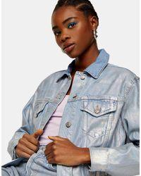 TOPSHOP Серебристая Выбеленная Джинсовая Куртка С Покрытием С Эффектом Металлик -серебристый