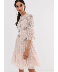 Needle & Thread - Robe mi-longue motif libellule - Rose thé - Lyst