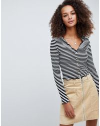 ASOS - V Neck Top In Rib With Button Front And Long Sleeve In Stripe - Lyst