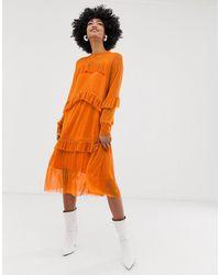 Résumé Resume - Katelynn - Robe mi-longue à volants superposés - Orange