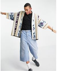 ASOS Knitted Oversized Kimono With Aztec Design - Multicolour