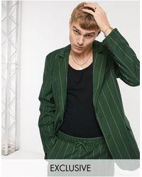 Reclaimed (vintage) Inspired - Blazer dad fit gessato - Verde