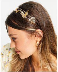ASOS Metalen Haarband Met Vlindertjes - Metallic