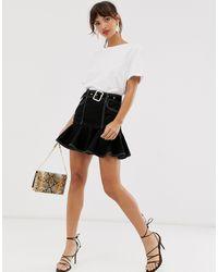 River Island Mini Skirt With Frill Hem - Black
