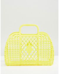 Monki - Plastic Basket Bag In Yellow - Lyst