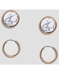 Reclaimed (vintage) - Inspired Multi Pack Marble Stud And Hoop Earrings - Lyst