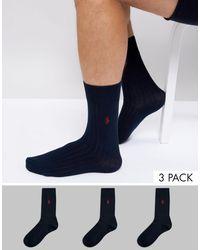 Polo Ralph Lauren Pack de 3 pares de calcetines de algodón egipcio con canalé azul marino con logo de jugador de