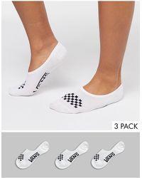 Vans Набор Из 3 Пар Белых Носков Classic-черный - Белый