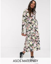 ASOS Asos Design Maternity Exclusive Floral Wrap Smock Dress-multi - Multicolour