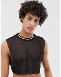 ASOS Camiseta corta sin mangas en malla negra con ribetes en contraste - Negro