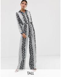 Missguided Tuta jumpsuit a fondo ampio con stampa effetto serpente - Grigio