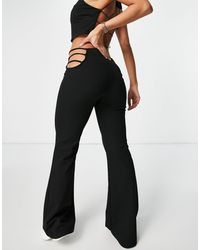 Bershka Side Cut Out Strappy Flare Pants - Black