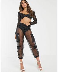 Lioness Sheer Organza Cargo Trouser - Black
