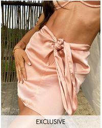 South Beach X Natalya Knot Front Beach Skirt - Pink