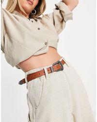 Glamorous Ceinture taille et hanches pour jean à boucle style western - Fauve - Multicolore