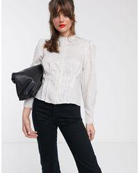 & Other Stories Blusa accollata con maniche a sbuffo bianca a righe metalliche - Bianco