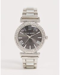 Steve Madden – Versilberte Damen-Armbanduhr mit schwarzem Zifferblatt - Mettallic