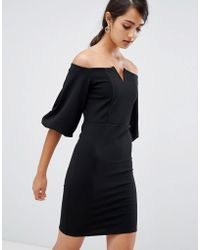 Girls On Film - Bardot Dress With Frill Sleeve Detail - Lyst