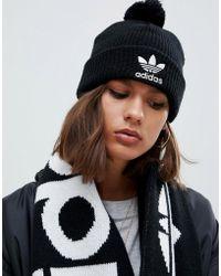 adidas Originals - Embroidered Logo Pom Pom Beanie In Black - Lyst
