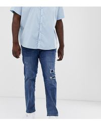 Jack & Jones Intelligence Slim Fit Abrasion Jeans In Dark Wash - Blue