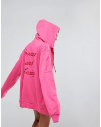 Lazy Oaf - Zip Through Hoodie With Snoozing And Losing Back - Lyst