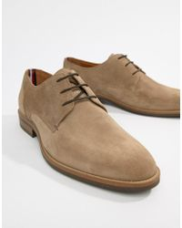Tommy Hilfiger - Essential Suede Lace Up Derby In Taupe Grey - Lyst