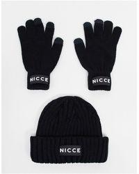 Nicce London Подарочный Комплект Черного Цвета Из Шапки-бини И Перчаток Для Сенсорных Гаджетов -черный