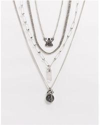 ASOS Confezione di catenine spesse con ciondoli Yin-Yang argento brunito - Metallizzato