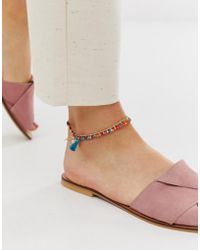 ASOS - Multirow Anklet With Multicolor Beads And Faux Shell Tassel Charms In Gold Tone - Lyst