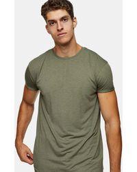 TOPMAN - T-shirt lunga verde kaki - Lyst