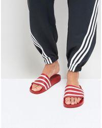 adidas Originals - Adilette Men's Mules / Casual Shoes In Red - Lyst
