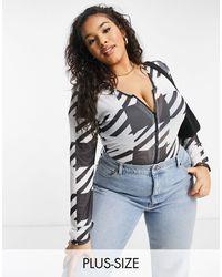 NaaNaa Plus Zip Front Bodysuit - Multicolour