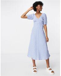 New Look Голубое Чайное Платье Миди В Мелкую Клетку С Пышными Рукавами -голубой - Синий