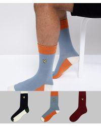 Lyle & Scott - 3 Pack Plain Socks In Blue/navy/burgundy - Lyst