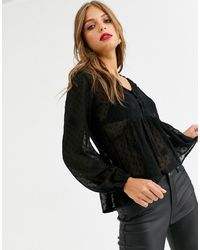 Stradivarius Camiseta negra romantic - Negro