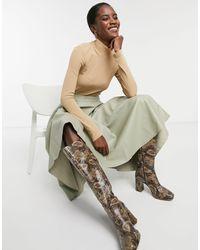 Glamorous Faux Leather Midi Skirt - Green