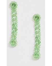 ASOS Earrings In Floral Style Plastic Bead Strand In Green