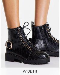 ASOS Wide Fit Aura Lace Up Hiker Boots - Black