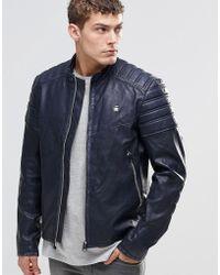 G-Star RAW Suzaki Pu Leather Jacket - Blue