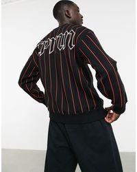 TOPMAN Stripe Oversized Sweatshirt - Black