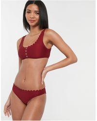 Accessorize Button Up Scallop Bikini Crop Top - Red