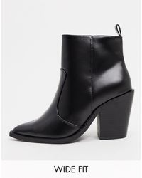 ASOS Wide Fit Emmy Western Heeled Boots - Black