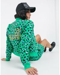 Love Moschino Bright Leopard Bomber Jacket - Green