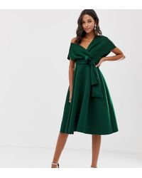 ASOS Fallen Shoulder Prom Dress With Tie Detail - Green