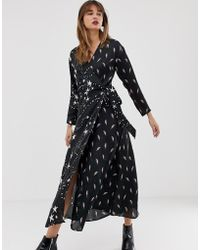 ASOS - Wrap Maxi Dress In Star And Lightning Bolt Print - Lyst