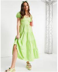 Stradivarius Milkmaid Poplin Dress With Puffed Sleeves - Green